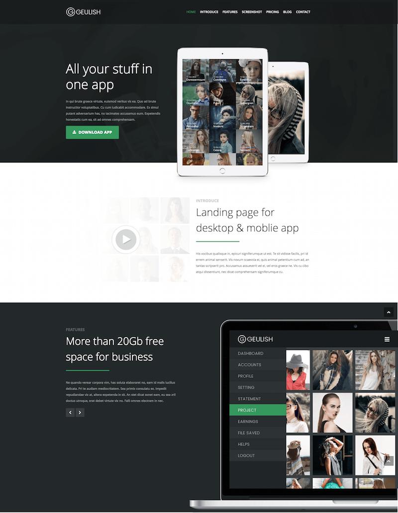 Geulish Startup App Landing Page Template