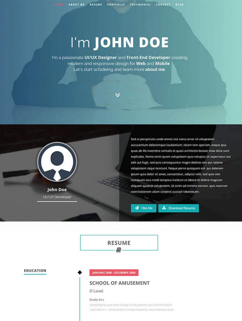 Intima Resume & Portfolio WordPress Theme