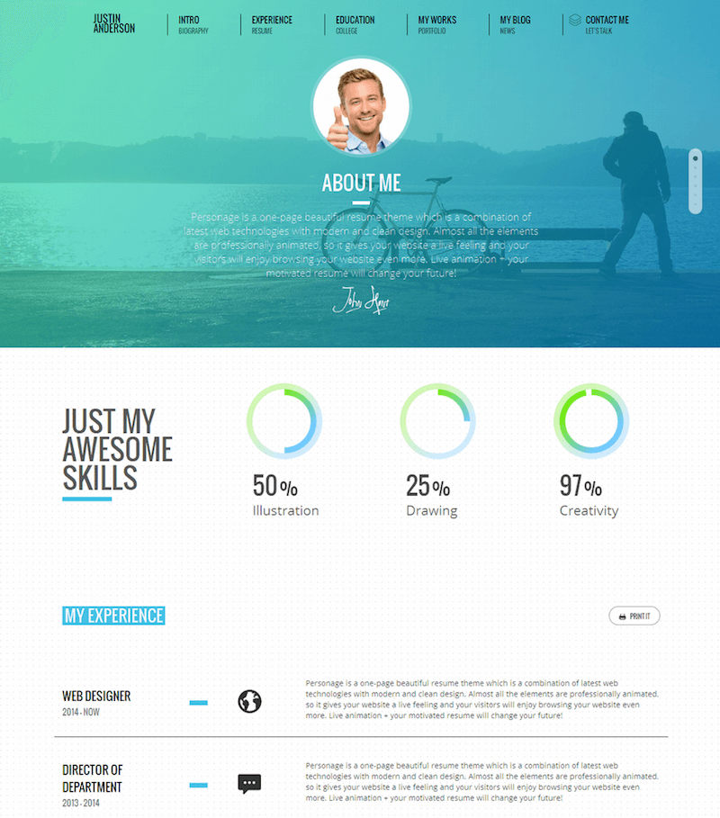 Personage Easy-Setup-CV-Resume