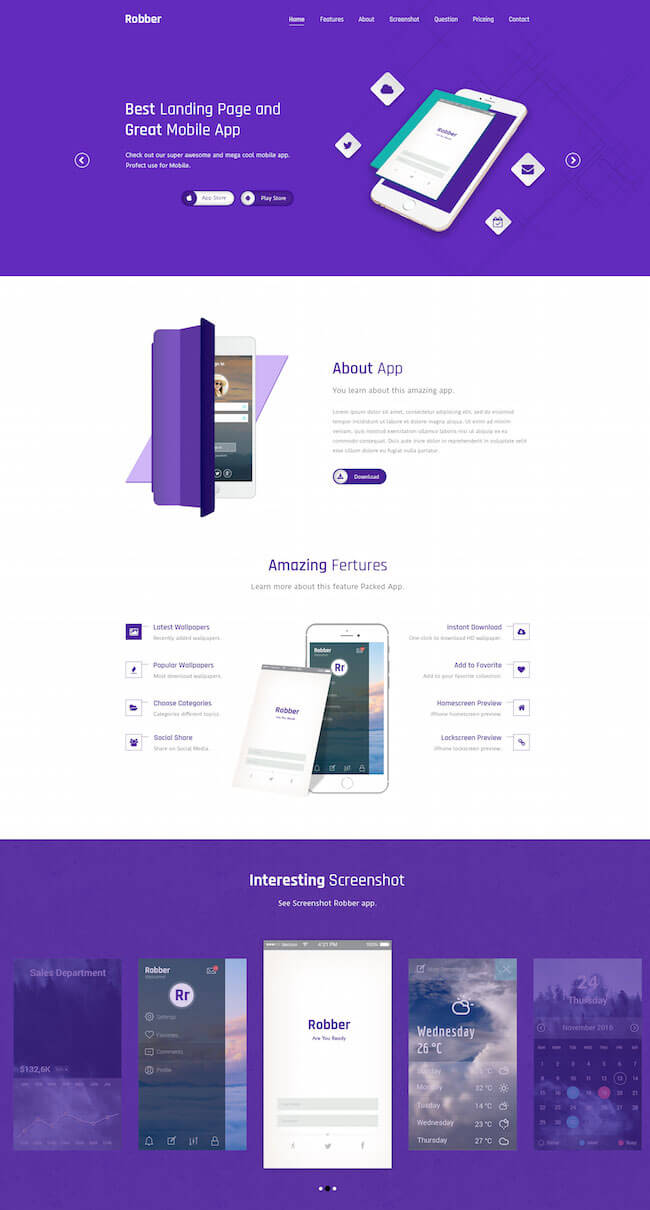 Robber Mobile App Landing Page