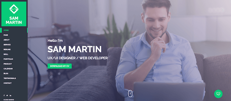 Sam Martin Personal vCard Resume WordPress Theme