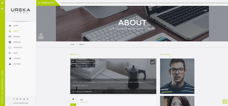 UREKA Vcard WordPress theme