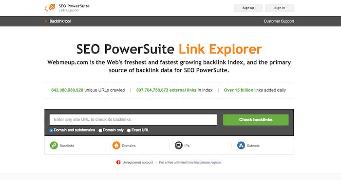 WebMeUp Backlink Tool