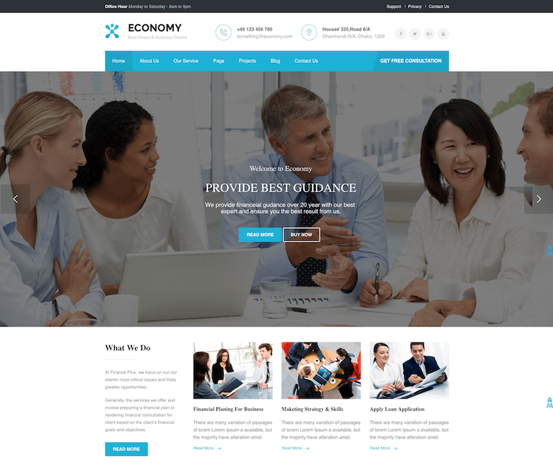 Economy Finance & Business WordPress Theme