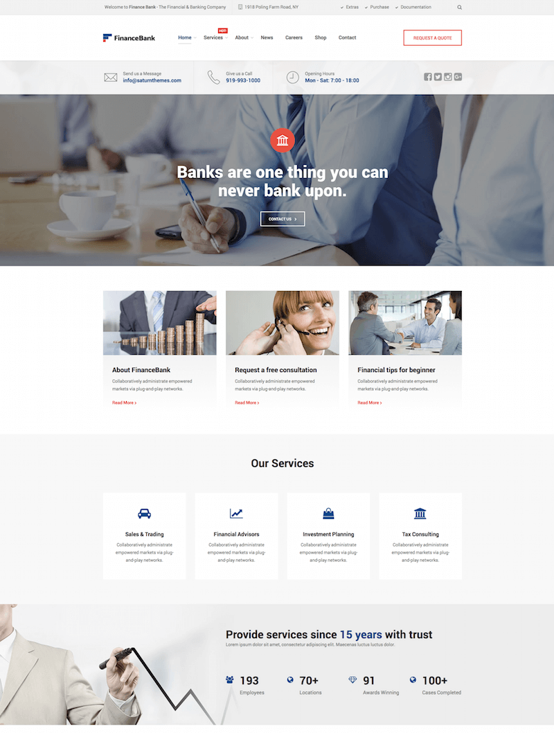 FinanceBank WordPress Theme