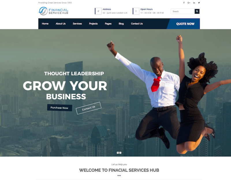 Financial Business Hub Corporate WordPress Theme