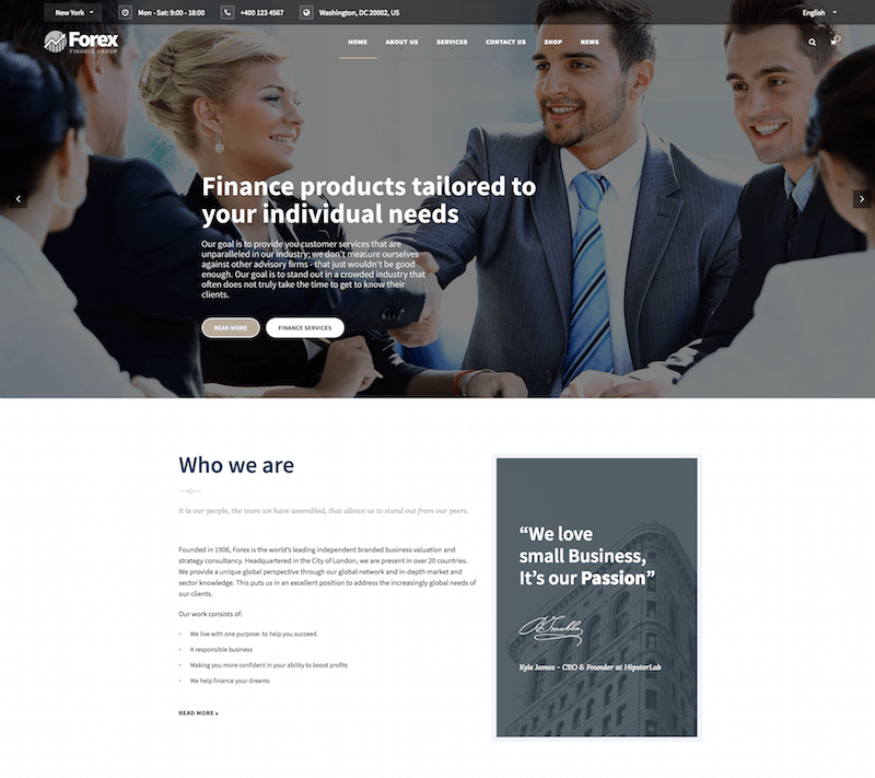 Forex Financial WordPress Theme