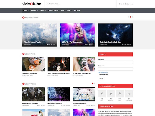 VideoTube A Responsive Video WordPress Theme