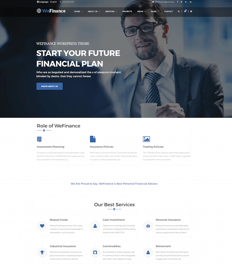 We Finance Finance WordPress Theme