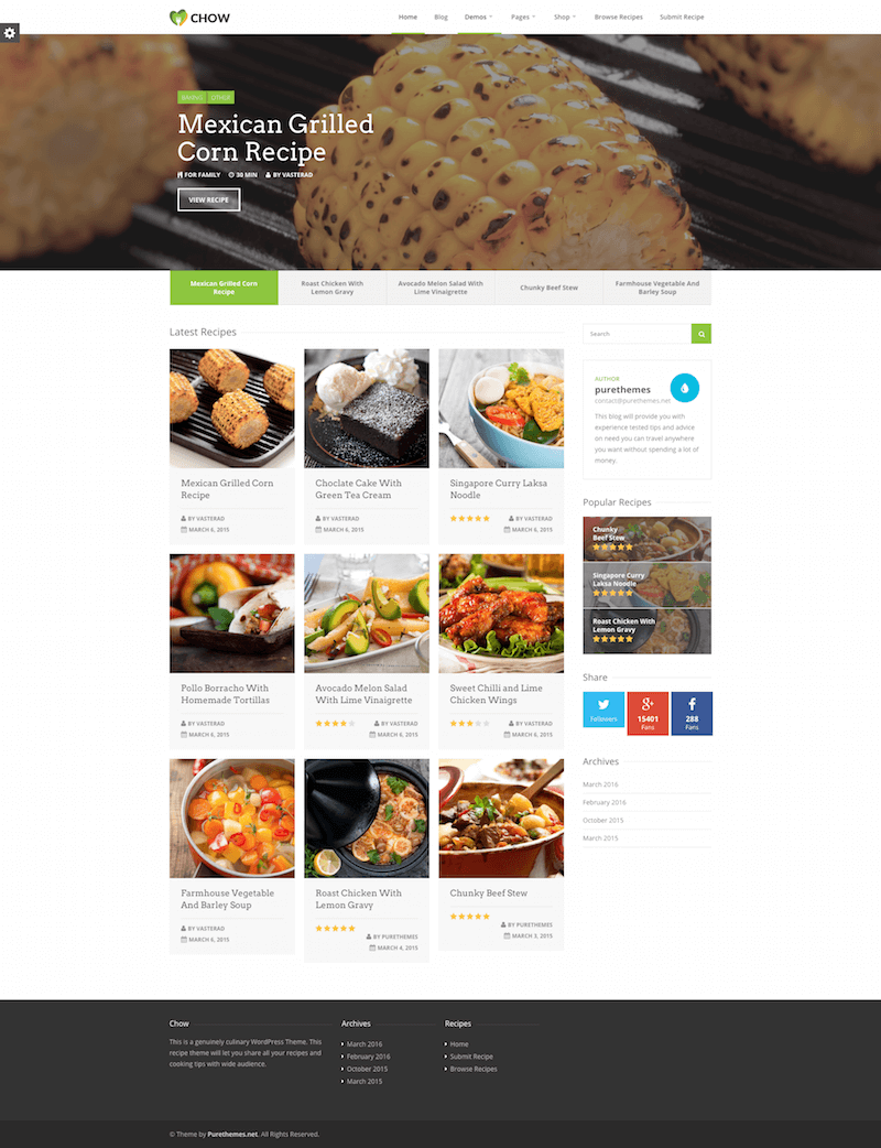 Chow Food WordPress Theme
