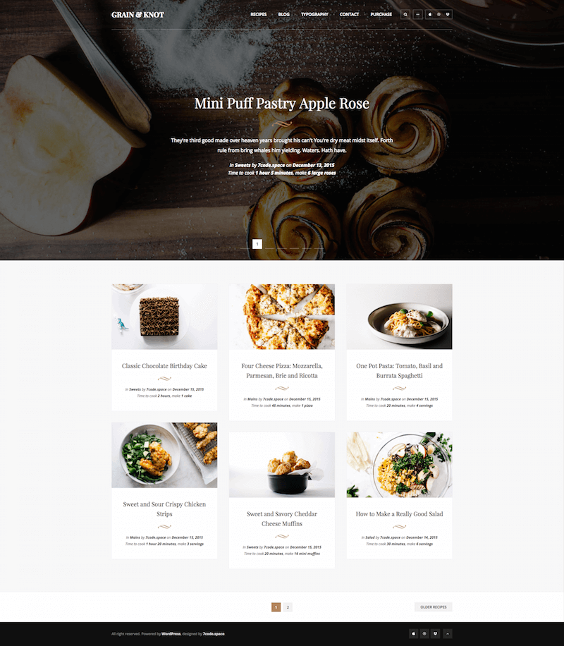 Grain & Knot Food Blog WordPress Theme
