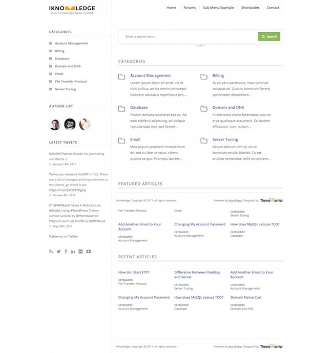 iKnowledge knowledge base theme
