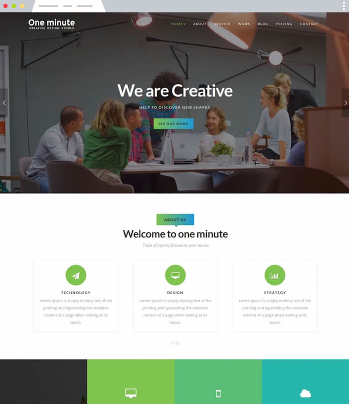 One minute Joomla Template