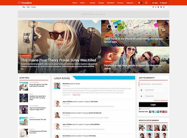 socialize-buddypress-powered-community-theme