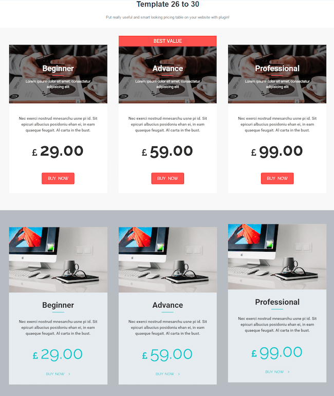 Best pricing table plugins