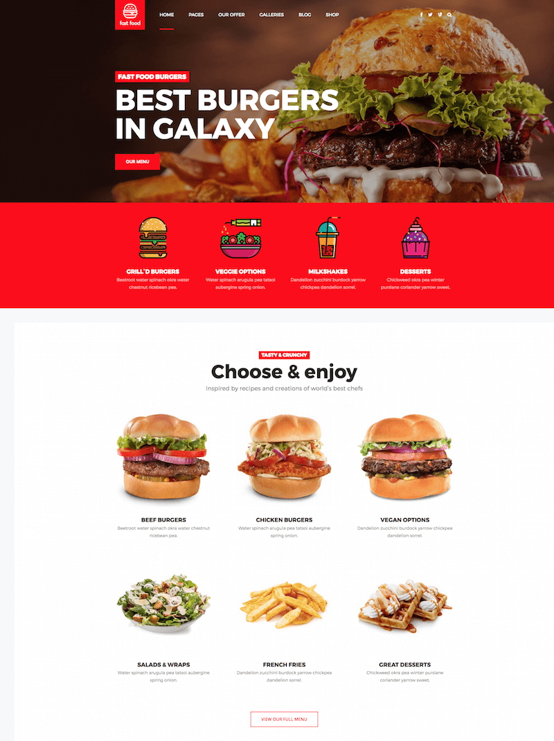 Fast Food WordPress Theme