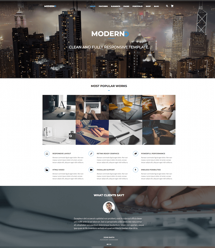 Moderno Fast Performance Drupal8 Theme