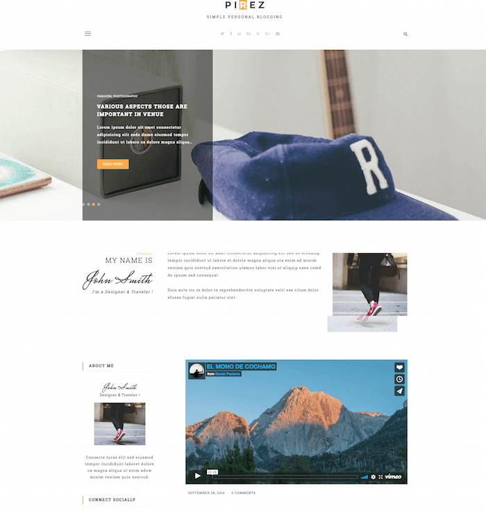 PIREZ Blogging Drupal 8 Theme