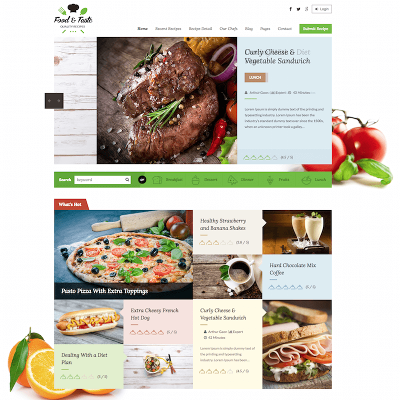 RecipePress Food blogging theme