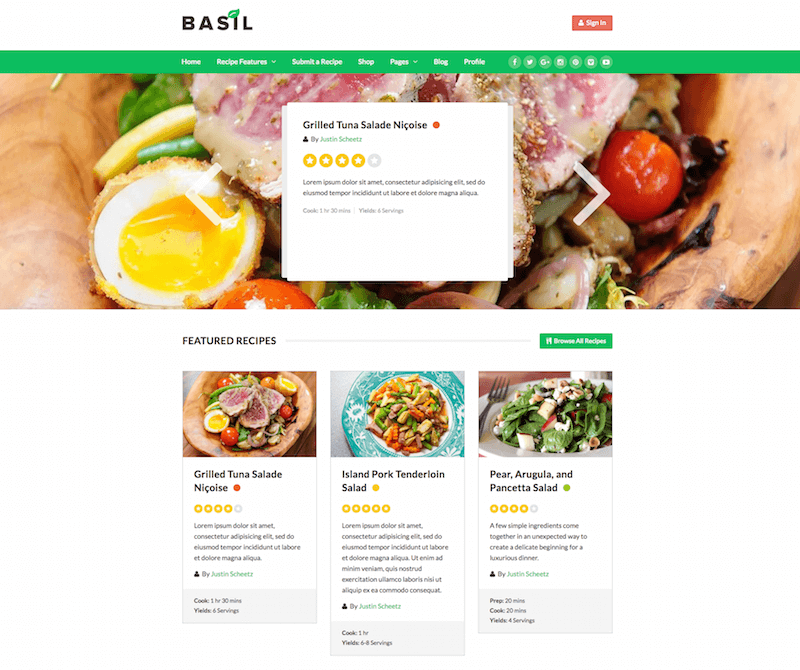 Basil WordPress Theme