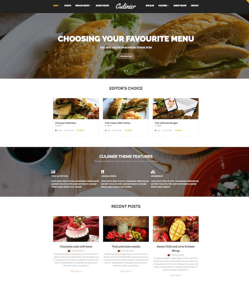 Culinier WordPress Theme