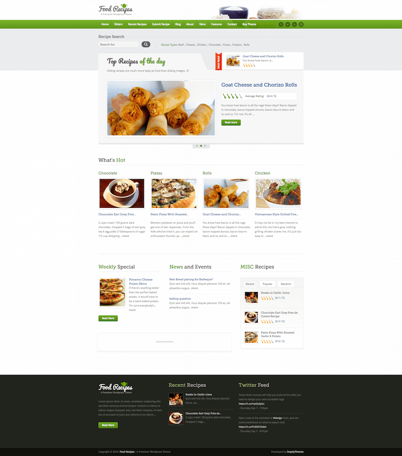 Food Recipes WordPress Themes