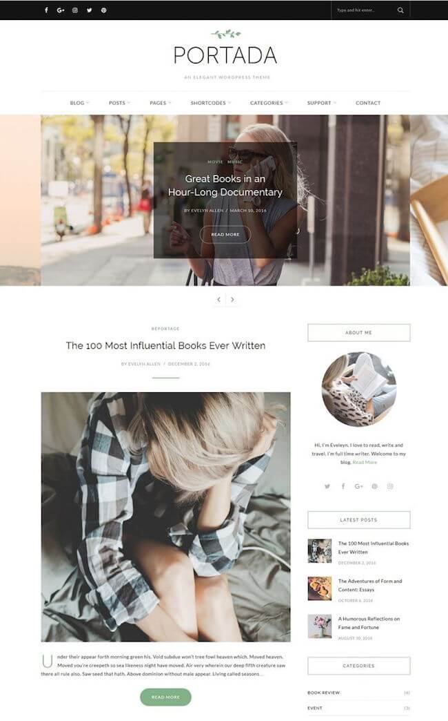 Portada Elegant WordPress Blogging Theme
