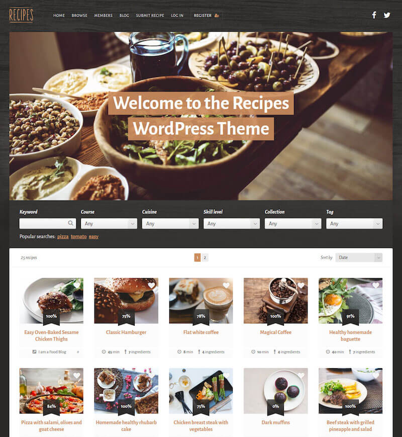 Recipes Food WordPress Theme