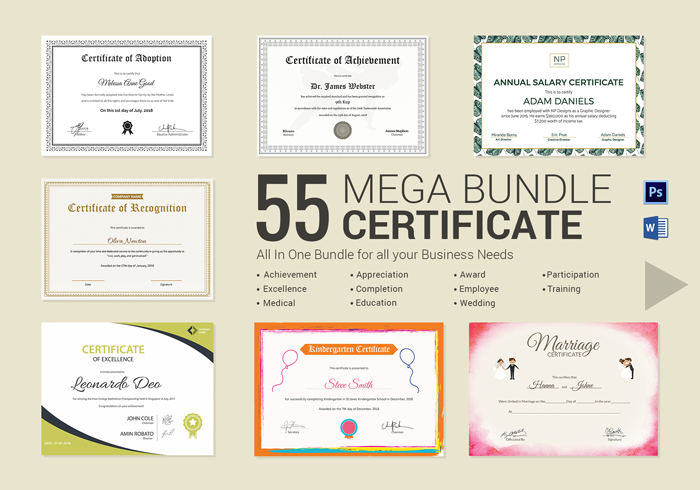 55 Printable Mega Certificate Bundle useful