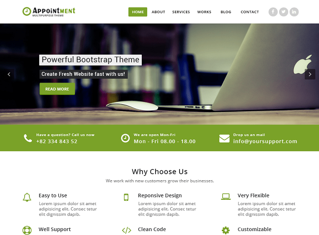Appointment Green, Free Responsive Plugin