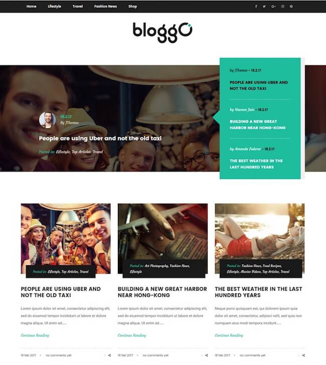 Bloggo lifestyle blog theme