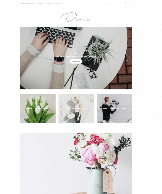 Diane Minimal WordPress Blog Theme