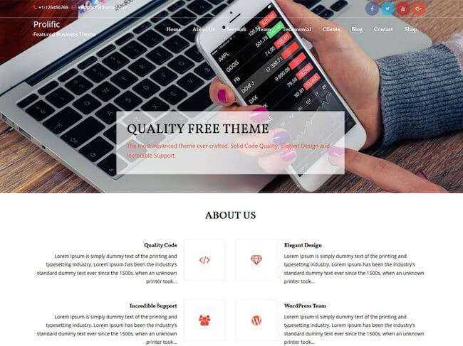 Prolific Free WordPress Theme