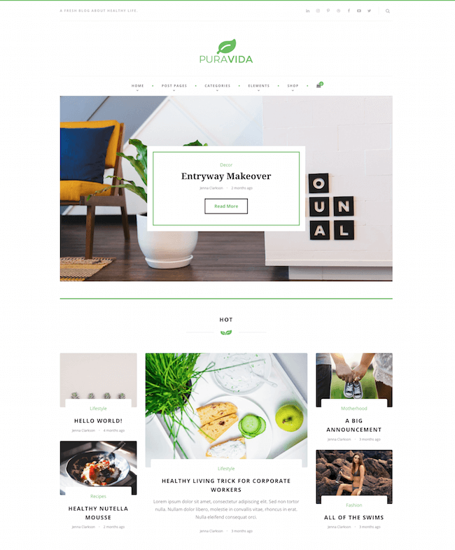 PuraVida Lifestyle WordPress Theme