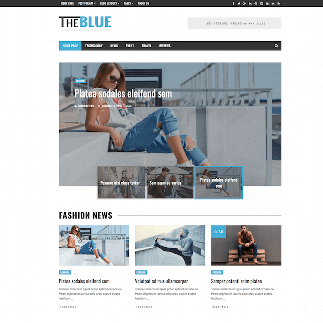 Theblue WordPress Theme