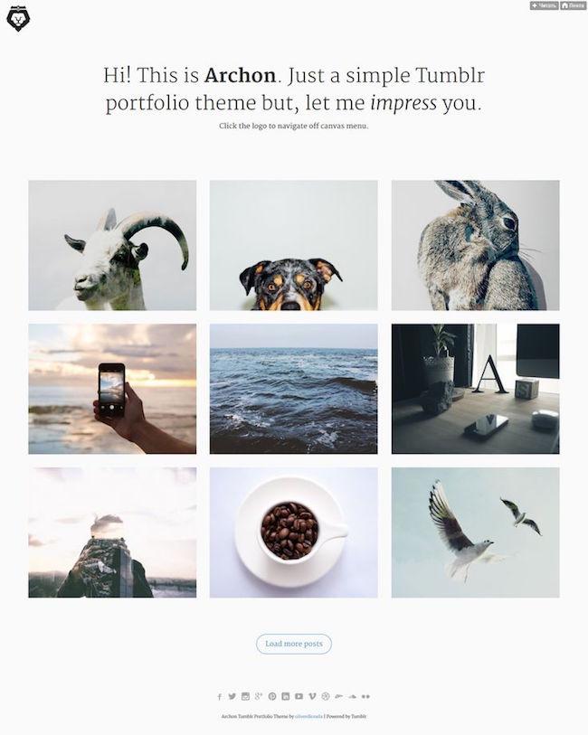 Archon Tumblr Portfolio Theme