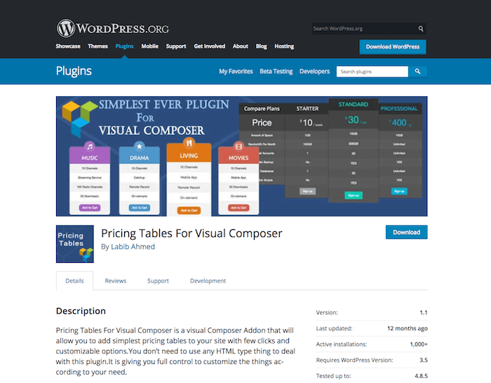 Pricing Tables For Visual Composer