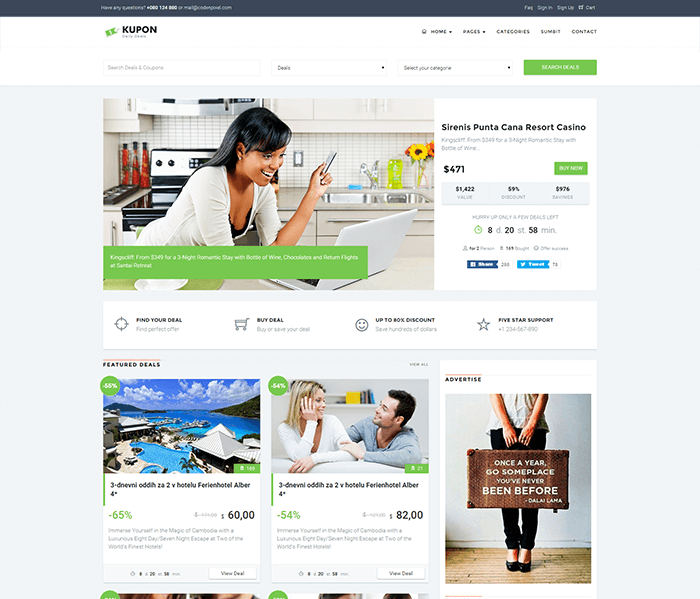 KUPON daily deal WordPress theme