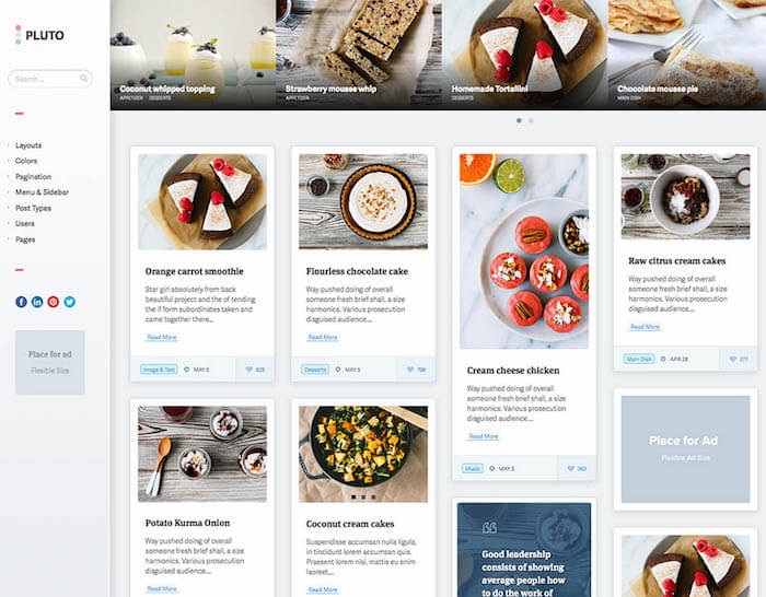 Pluto grid WordPress theme