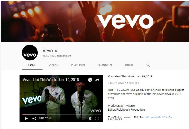 YouTube channel of Vevo