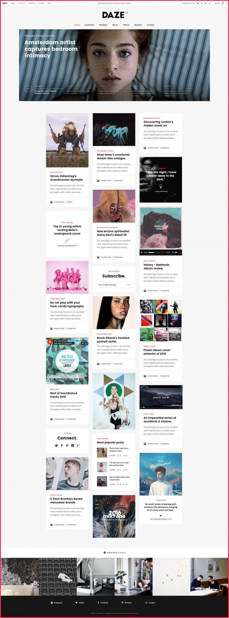 Daze Modern Pinterest Like WordPress Theme