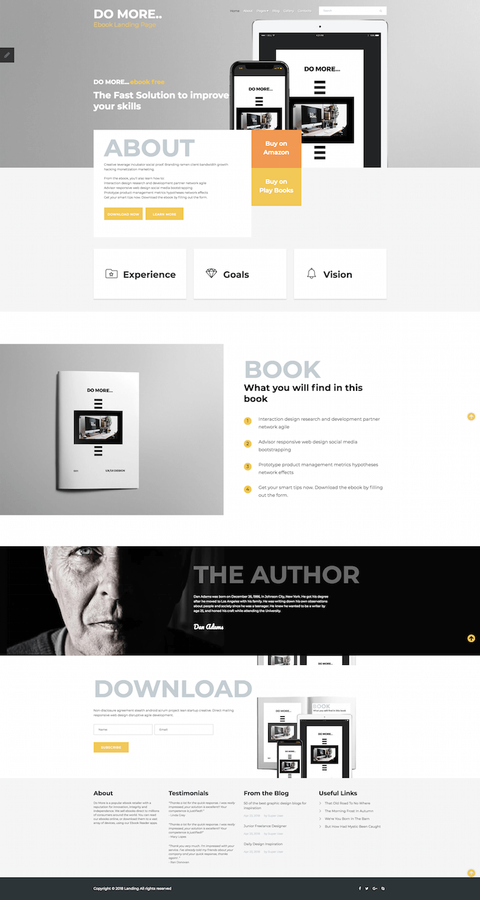 eBook Landing Page Joomla Template