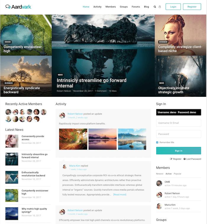 Aardvark BuddyPress Theme