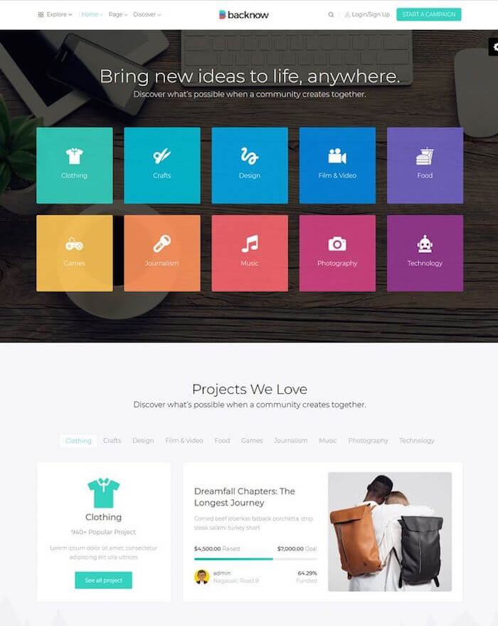 Backnow Crowdfunding and Fundraising WordPress Theme