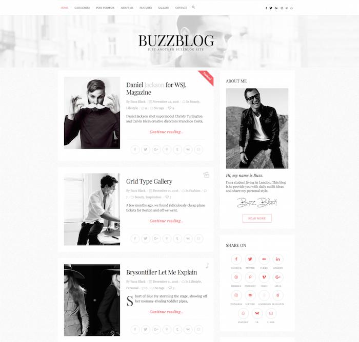BuzzBlog Tumblr Style WordPress Theme