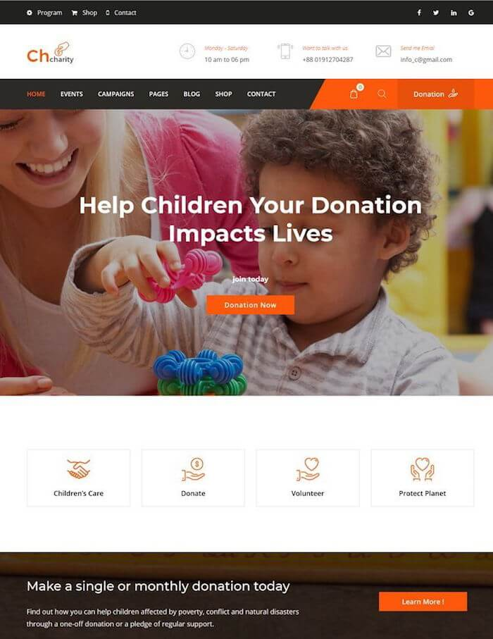 Chcharity Fundraising HTML Template