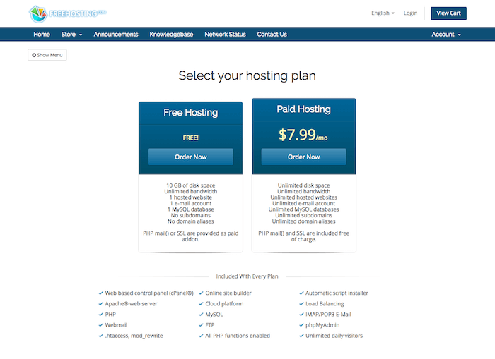 Free WordPress Hosting Plan