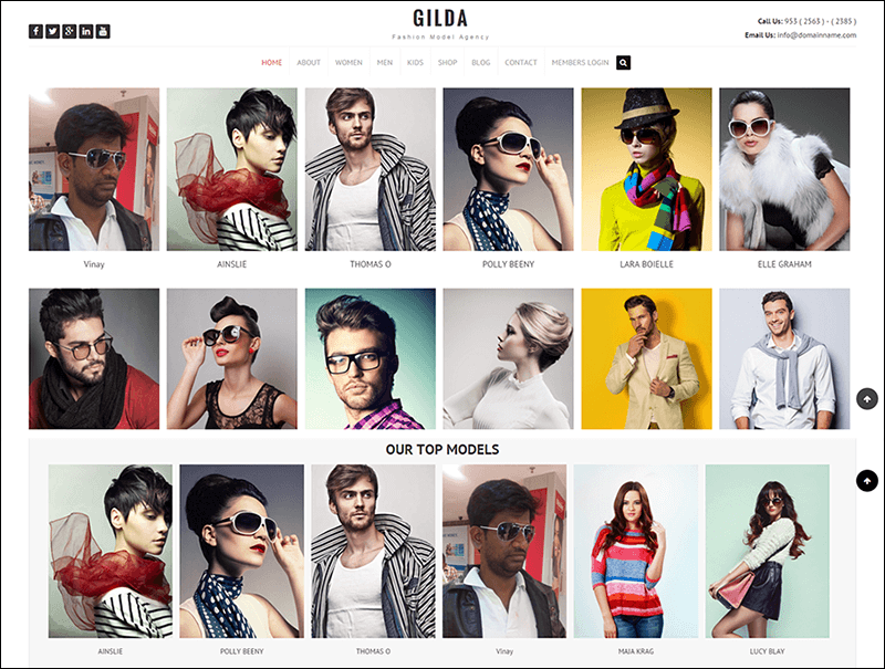 Gilda Model Agency Website Template