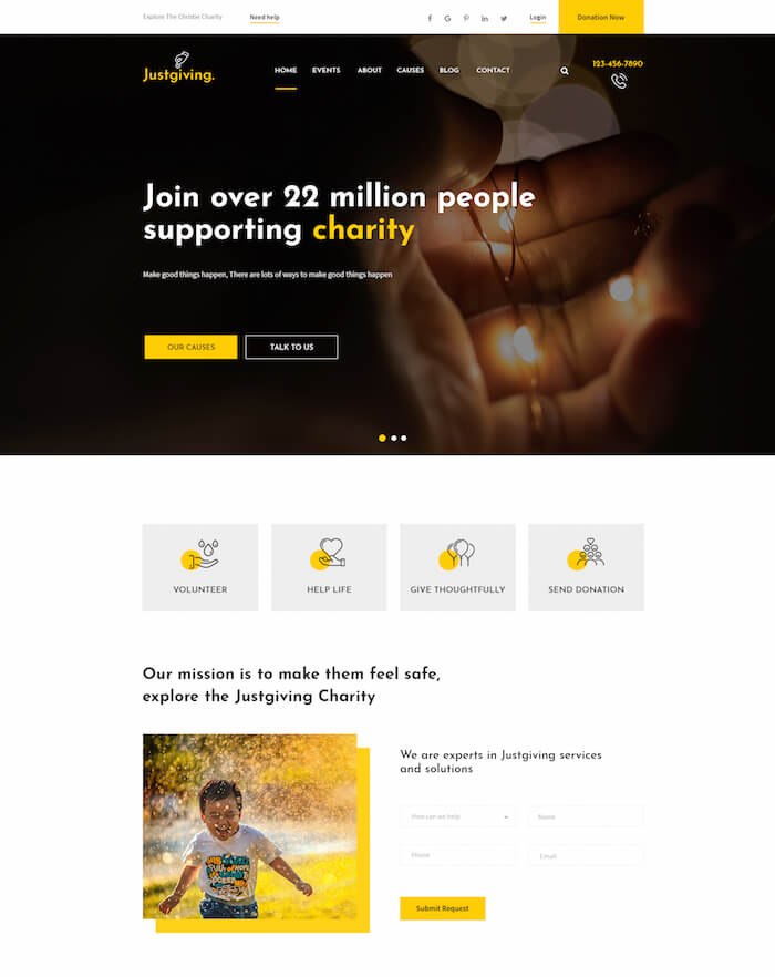 Justgiving Crowdfunding PSD Template