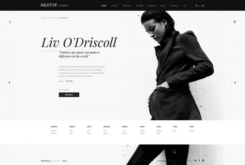 Nextop Model Artist Talent Agency Photographer Theme
